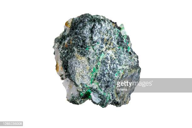 Malachite, copper carbonate hydroxide mineral, found in Vielsalm, Belgium against white background.