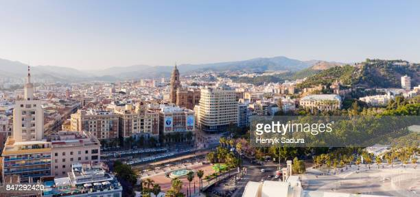 Malaga Cathedral and city panorama