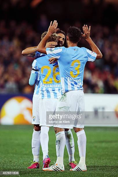 Malaga celebrates a goal by Samu Castillejo during the international club friendly match between Adelaide United and Malaga CF at Adelaide Oval on...