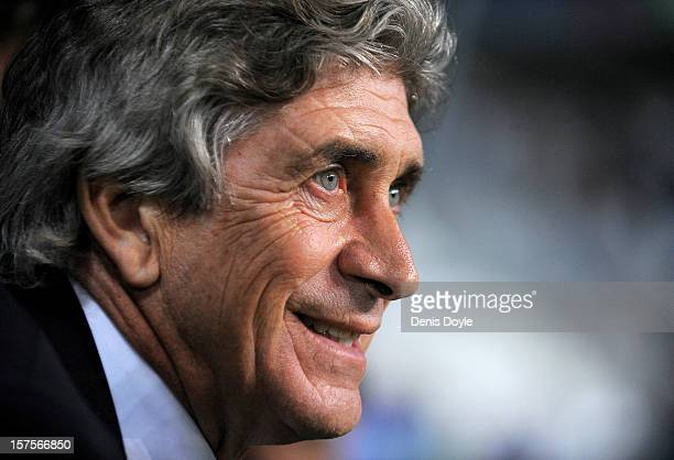 Malaga CF head coach Manuel Pellegrini looks on during the UEFA Champions League Group C match between Malaga CF and RSC Anderlecht at Estadio La...