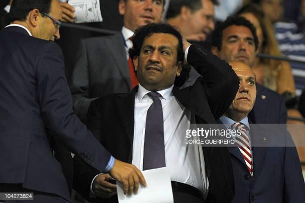Malaga CF's chairman Sheikh Abdallah Ben Nasser AlThani gestures during a Spanish league football match match between Malaga CF and Sevilla at...