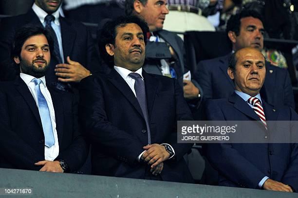 Malaga CF's chairman Sheikh Abdallah Ben Nasser AlThani watches the Spanish league football match between Malaga CF and Sevilla at Rosaleda stadium...