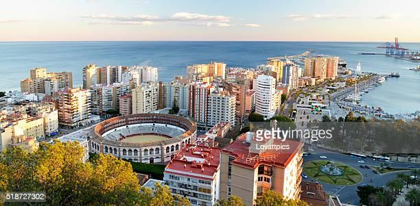 Malaga City and Port area Spain.