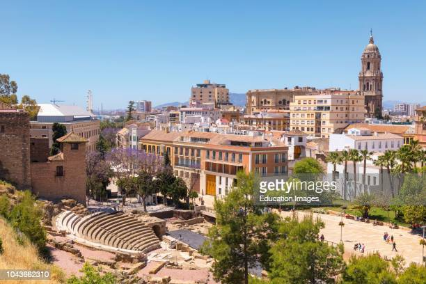 Malaga, Costa del Sol, Malaga Province, Andalusia, southern Spain City view showing Roman theatre and cathedral The Alcazaba can be seen to the left.