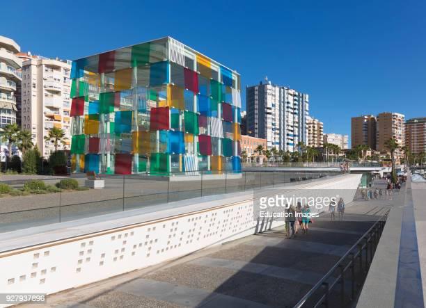 Malaga Costa del Sol Malaga Province Andalusia southern Spain The distinctive glass cube of the Pompidou Centre museum on Muelle Uno The structure...