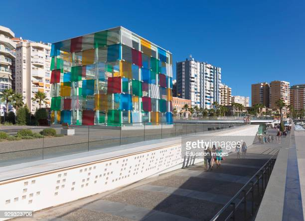 Malaga Costa del Sol Malaga Province Andalusia southern Spain The distinctive glass cube of the Pompidou Centre museum on Muelle Uno The structure...