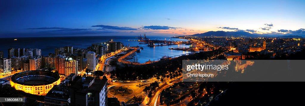 Malaga Dusk Panorama : Stock Photo