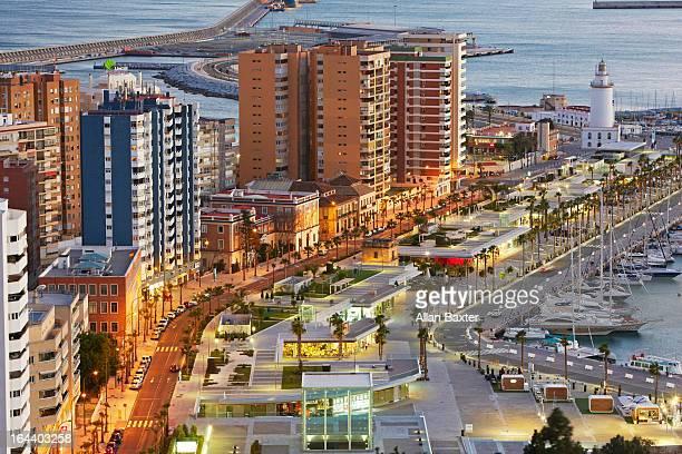 Malaga lighthouse and port