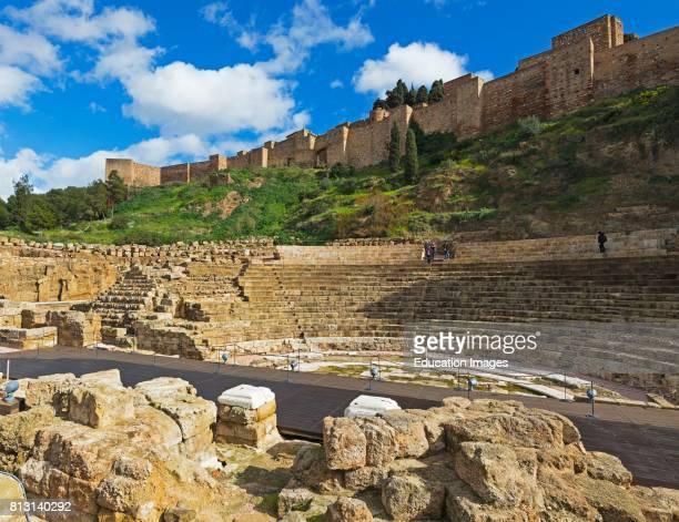 Malaga, Malaga Province, Costa del Sol, Andalusia, southern Spain. Roman theatre and the Moorish alcazaba, or fortress.