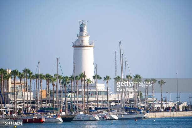 Malaga port and lighthouse on a sunny day with a blue sky