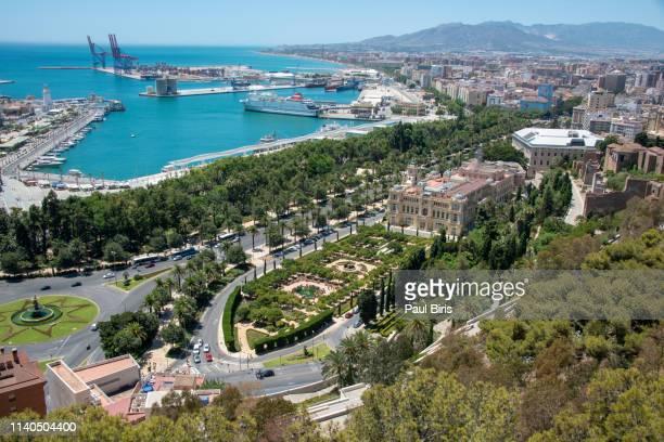 malaga port from the alcazaba, malaga on the costa del sol in spain - malaga photos et images de collection