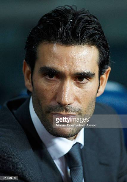 Malaga President Fernando Sanz looks on before the La Liga match between Barcelona and Malaga at Camp Nou on February 27 2010 in Barcelona Spain...