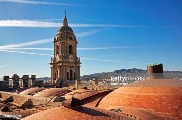 malaga skyline from castillo de gibralfaro - málaga málaga province stock pictures, royalty-free photos & images