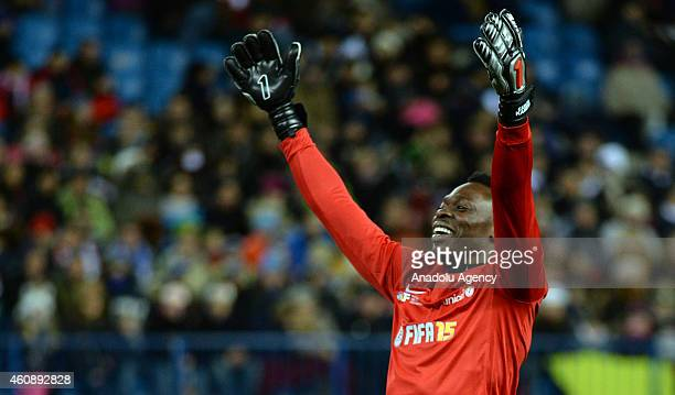 Malaga's goalkeeper Idriss Kameni gestures during the 'Champions for Life' charity match organized by the Professional Football Association and the...