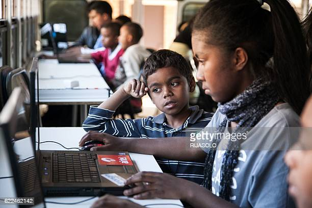Malagasy children aged 7 to 13 learn how to code on the CODER bus on September 24, 2016 in Antananarivo. This project was created in October 2015 by...