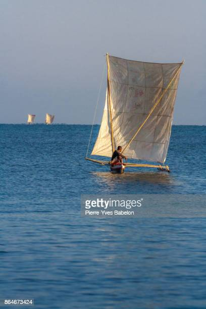malagasy fisherman - dugout canoe stock photos and pictures