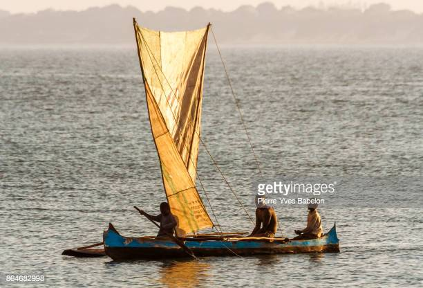 malagasy fishing boat - dugout stock photos and pictures