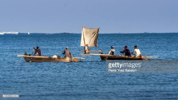 malagasy fishing boats - pierre yves babelon stock pictures, royalty-free photos & images