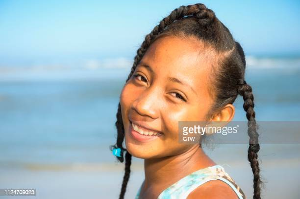 Malagasy girl, 15-16 years, on the beach, Morondava, Toliara province, Madagascar