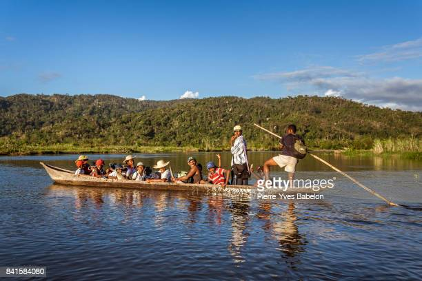 Malagasy people in a taxi boat