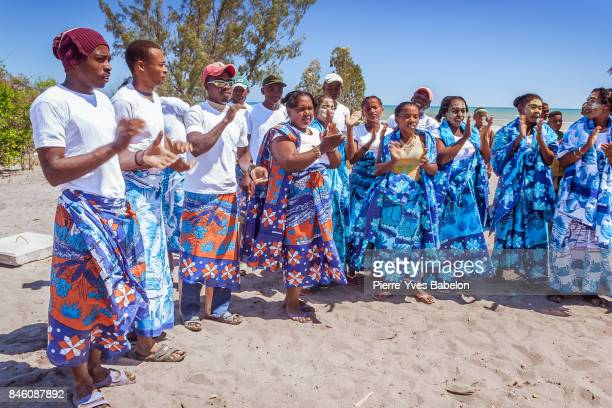Malagasy people with their traditional outfits