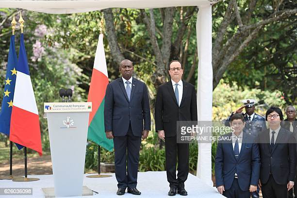 Malagasy Prime minister Olivier Mahafaly Solonandrasana, French president Francois Hollande, French Minister of Youth Affairs and Sports Patrick...