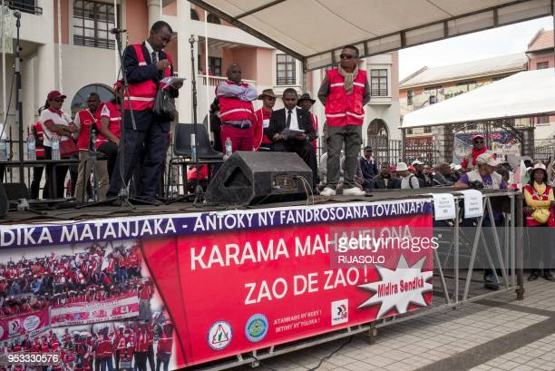 Malagasy trade-union responsible delivers a speech on stage during the traditional may day demonstration called by opposition deputies, and workers'...