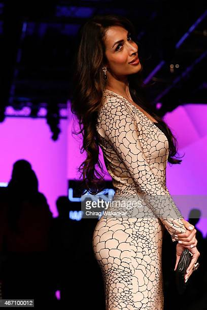 Malaika Arora Khan poses for pictures on day 3 as part of Lakme Fashion Week Summer/Resort 2015 at Palladium Hotel on March 20 2015 in Mumbai India