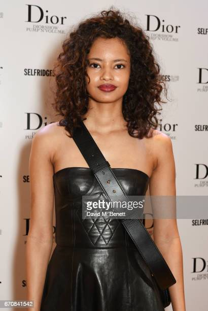 Malaika Firth attends the launch of the Dior Pump 'N' Volume Mascara with Dior spokesmodel Bella Hadid at Selfridges on April 20 2017 in London...