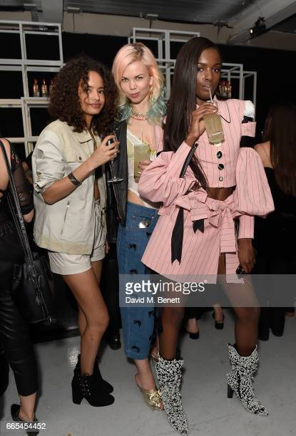 Malaika Firth, Fabienne Hebrard and Leomie Anderson attend as Dazed + ck one celebrate the launch of The Dazed100 on April 6, 2017 in London, England.