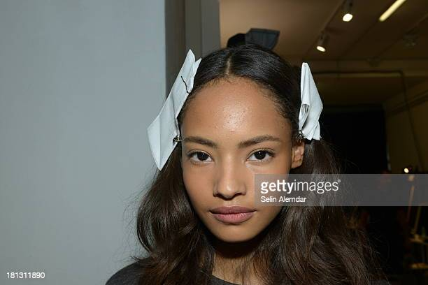 Malaika Firth poses backstage ahead of the Sportmax show as a part of Milan Fashion Week Womenswear Spring/Summer 2014 on September 20 2013 in Milan...