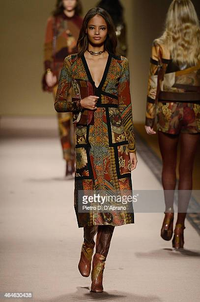 Malaika Firth walks the runway at the Etro show during the Milan Fashion Week Autumn/Winter 2015 on February 27 2015 in Milan Italy