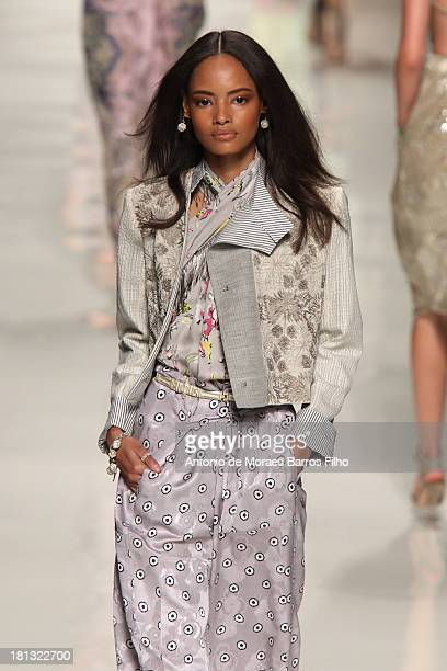Malaika Firth walks the runway during the Etro show as a part of Milan Fashion Week Womenswear Spring/Summer 2014 on September 20 2013 in Milan Italy