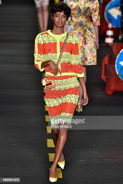 Malaika Firth walks the runway during the Moschino Ready to Wear show as a part of Milan Fashion Week Spring/Summer 2016 on September 24 2015 in...
