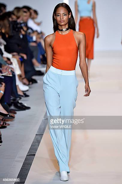 Malaika Firth walks the runway during the Mugler Ready to Wear show as part of the Paris Fashion Week Womenswear Spring/Summer 2015 on September 27...