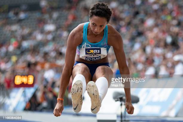 Malaika Mihambo competes during Long Jump Women Final at German National Championship in Athletics on August 04 2019 in Olympiastadion in Berlin...