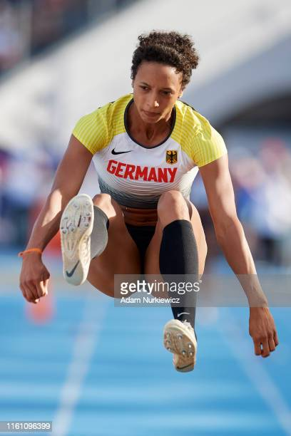 Malaika Mihambo from Germany competes in women's long jump final while European Athletics Team Championships Super League Bydgoszcz 2019 Day Three at...