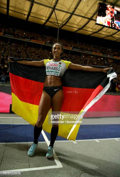 Malaika Mihambo of Germany celebrates winning Gold in the Women's Long Jump Final during day five of the 24th European Athletics Championships at...