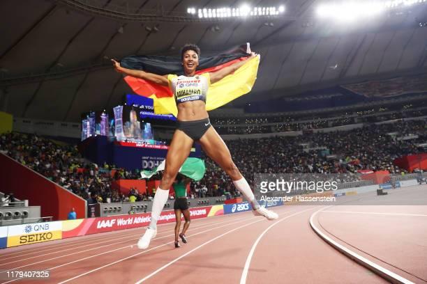 Malaika Mihambo of Germany celebrates winning gold in the Women's Long Jump final during day ten of 17th IAAF World Athletics Championships Doha 2019...