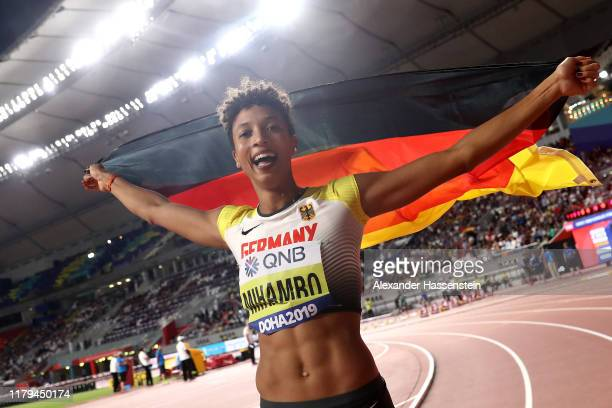 Malaika Mihambo of Germany celebrates winning gold in the Women's Long Jump final during day ten of 17th IAAF World Athletics Championships Doha 2019...