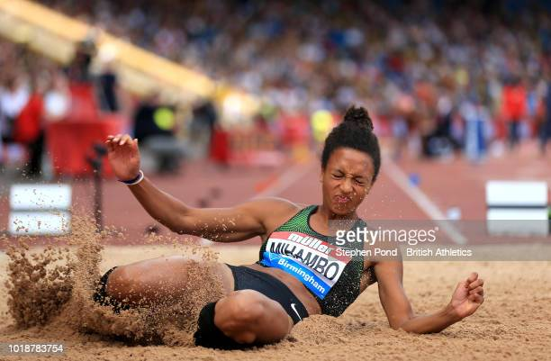 Malaika Mihambo of Germany competes in the Women's Long Jump during the Muller Grand Prix Birmingham IAAF Diamond League event at Alexander Stadium...