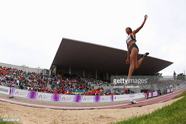 Malaika Mihambo of Germany competes in the Women's Long Jump on day four of the European Athletics U23 Championships at Kadriorg Stadium on July 12,...