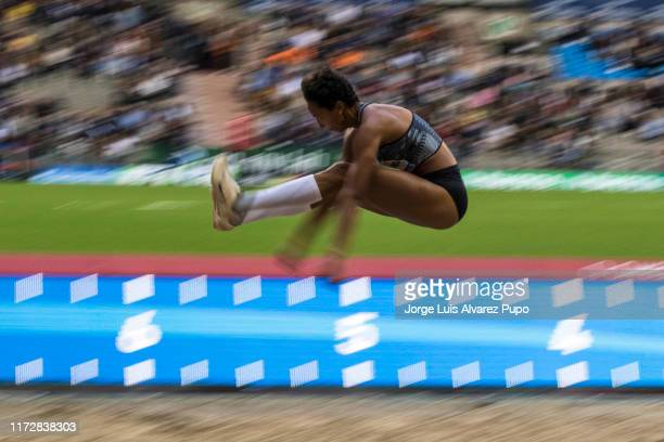 Malaika Mihambo of Germany competes in theLong Jump Women during the AG Insurance Memorial Van Damme as part of the IAAF Diamond League 2019 at King...