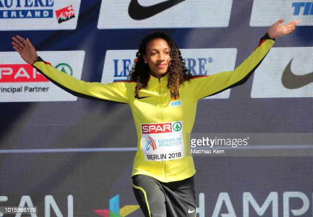 Malaika Mihambo of Germany gold poses during the medal ceremony for the Women's Long Jump during day six of the 24th European Athletics Championships...