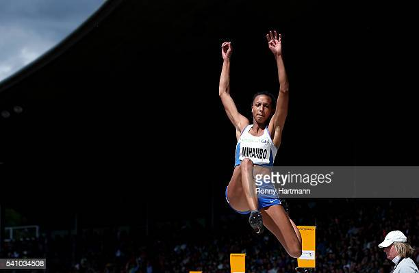 Malaika Mihambo of LG Kurpfalz competes during the Women's Long Jump final during day 1 of the German Championships in Athletics at Aue Stadium on...