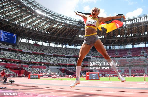 Malaika Mihambo of Team Germany celebrates winning the gold medal in the Women's Long Jump Final on day eleven of the Tokyo 2020 Olympic Games at...