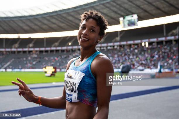 Malaika Mihambo reacts after 100m Women final during a German National Championship in Athletics on August 04 2019 in Olympiastadion in Berlin Germany