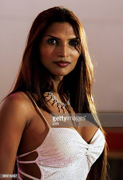 Malaika one of the winners of the Indian Super Queen Contest for Transgenders poses for a photograph at the competition in Chennai on January 21 2010...