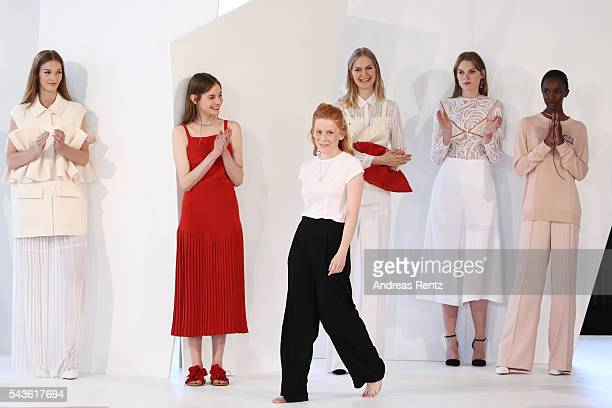 Malaika Raiss and her models are seen on the runway at the Malaikaraiss defilee during the Der Berliner Mode Salon Spring/Summer 2017 at...