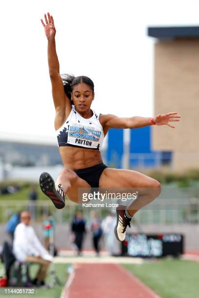 Malaina Payton competes in the women's long jump on the second day of the 61st Mt SAC Relays at Murdock Stadium at El Camino College on April 20 2019...